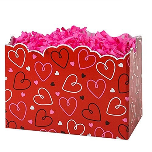 Small Doodle Hearts Basket Boxes - 6.75 x 4 x 5in. - 54 Pack by NW