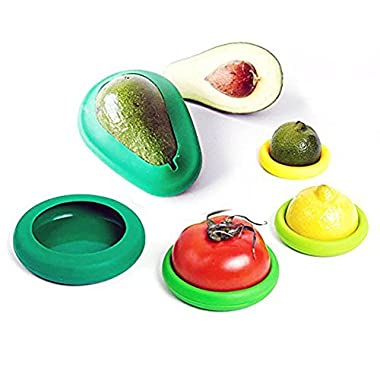 Set of 6 Variety Pack Reusable Food Covers, 4 Food Huggers + 2 Avocado Huggers, Green
