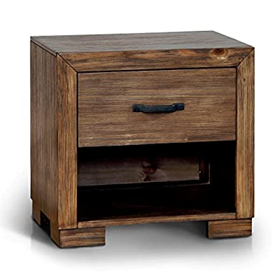 Brown Wood, Rustic Style Nightstand with Built-in USB/Power Outlet and Black Finished Metal Handle Included Cross Scented Candle Tart