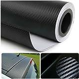 Moyishi 3D Black Carbon Fiber Film Twill Weave Vinyl Sheet Roll Wrap - 24''x60''