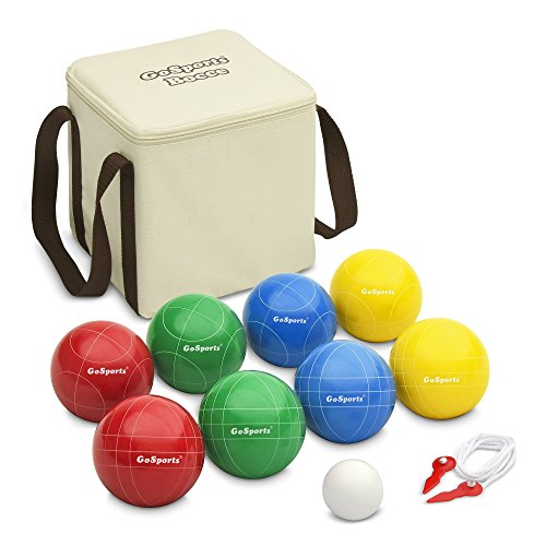 (GoSports 90mm Backyard Bocce Set with 8 Balls, Pallino, Case and Measuring Rope | Choose Hard Resin Balls or Soft Rubber Balls)