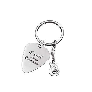 Amazon.com: Llavero de púa de guitarra grabado con texto en ...