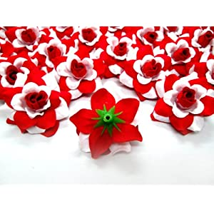 """(100) Silk White Red Roses Flower Head - 1.75"""" - Artificial Flowers Heads Fabric Floral Supplies Wholesale Lot for Wedding Flowers Accessories Make Bridal Hair Clips Headbands Dress 3"""