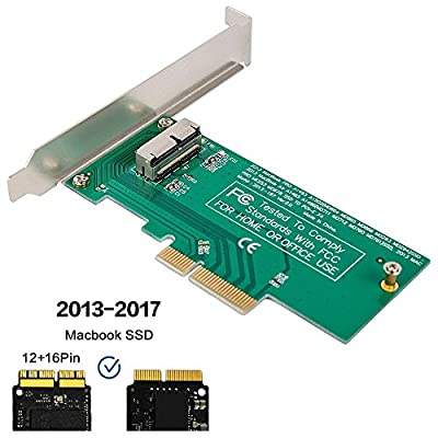 QNINE PCIe SSD Adapter Card for 2013 2014 2015 2016 2017 MacBook Air Pro Retina, Hard Drive Controller Converter to Desktop PCI Express X4, Support Model A1465 A1466 A1398 A1502 from QNINE