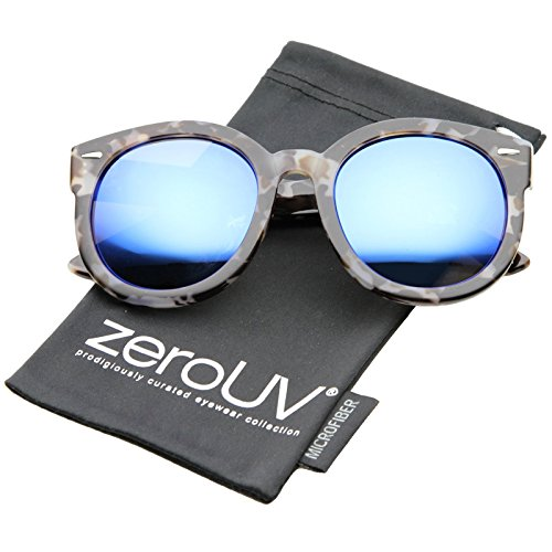 zeroUV - Modern Block Tortoise Thick Frame Mirror Lens Oversize Round Sunglasses 52mm (Grey-Block-Tortoise / Blue - Sunglasses Valley