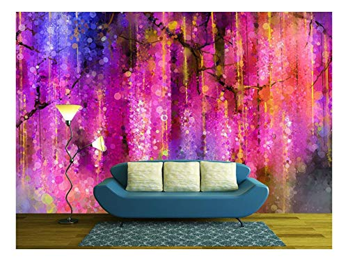 wall26 - Abstract Violet, Red and Yellow Color Flowers. Watercolor Painting - Removable Wall Mural | Self-Adhesive Large Wallpaper - 100x144 inches