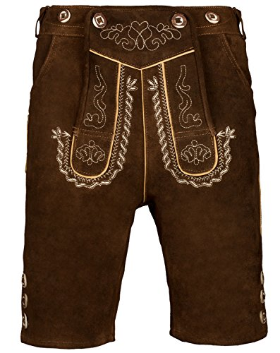 Herren Trachten Lederhose Kurz mit Trägern in verschiedenen Farben, Trachtenlederhose in Größe 46 bis 60 (56, Nußbraun)