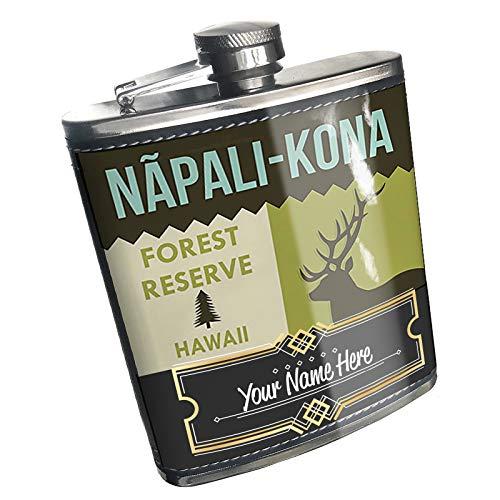 Neonblond Flask National US Forest N?pali-Kona Forest Reserve Custom Name Stainless Steel (Kona Stainless Steel Flask)