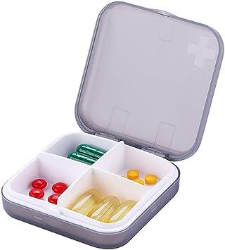 Pastillero para medicamentos, MX kingdom Pill Box, 4 compartimentos, para viaje, portátil, caja para pastillas de vitamina Manager: Amazon.es: Salud y cuidado personal