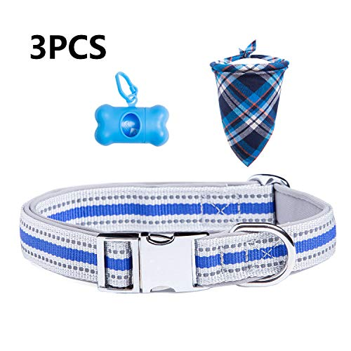 TCBOYING Reflective Dog Collar, Adjustable Safe Training Basic Dog Collars, Dog Bandanas, Medium and Small Dog Collar…