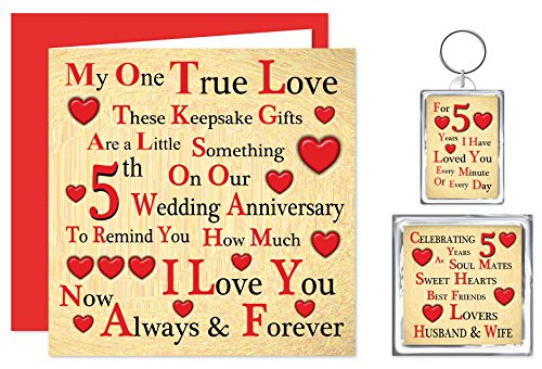 Our 5th Wedding Anniversary Gift Set Card Keyring Fridge Magnet