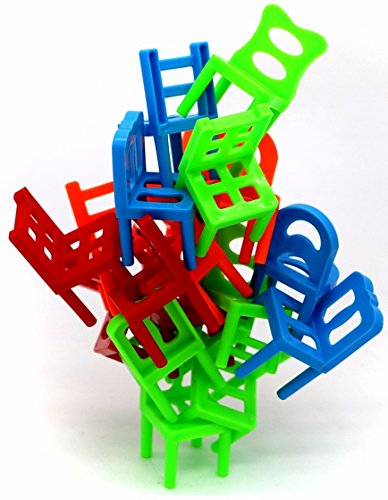 Little Treasures Chairs Stacking Tower Balancing Game - Pile-Up Suspend Family Board Games For Kids (18 Chair Toys Set)