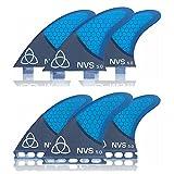 Naked Viking Surf Medium NV-5.0 Thruster Surfboard Fins (Set of 3) Blue Carbon Fiber, FCS
