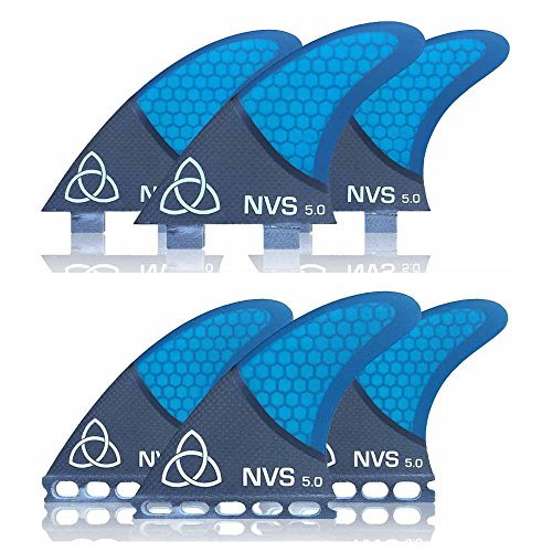 Naked Viking Surf Medium NV-5.0 Thruster Surfboard Fins (Set of 3) Blue Carbon Fiber, FCS by Naked Viking Surf