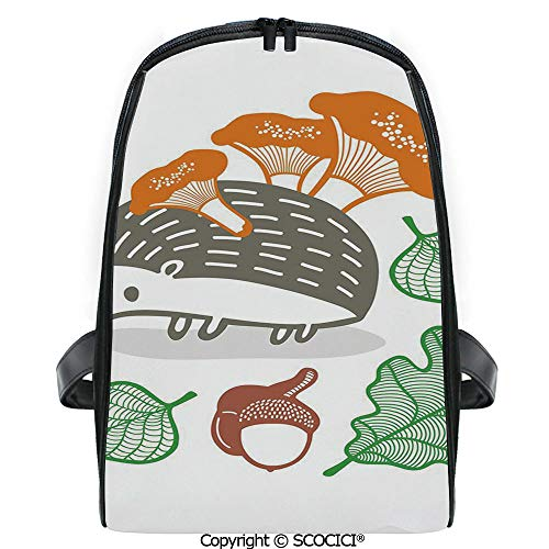 SCOCICI Students Cute Printed Bookbag Colorful Hedgehog with Various Edible Items Mushrooms Nuts and Leaves Animal Diet with Funny Personalized Graphics
