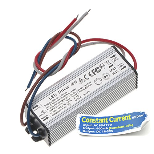 Chanzon LED Driver 900mA (Constant Current Output) 18V-39V (Input 85-277V AC-DC) (6-12) x3 18W 24W 30W 36W IP67 Waterproof High Power Supply 900 mA Lighting Transformer for 30 W COB Chips (Aluminium)