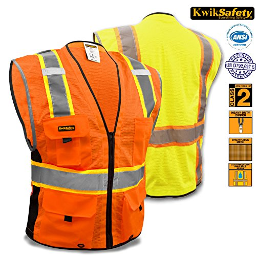KwikSafety Class 2 Deluxe Safety Vest | Comfortable Reflective Breathable Mesh w/ Contrast Trimming & Heavy Duty Zipper | Construction Motorcycle Traffic Running Emergency | Men Women | Orange (Horseback Riding Costume Class)