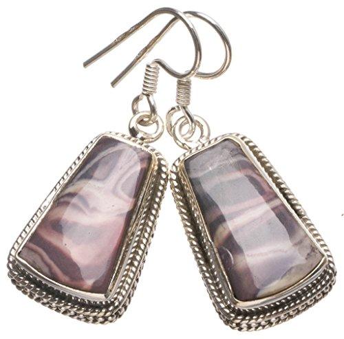 (Natural Royal Imperial Jasper Handmade Indian 925 Sterling Silver Earrings 1 1/2
