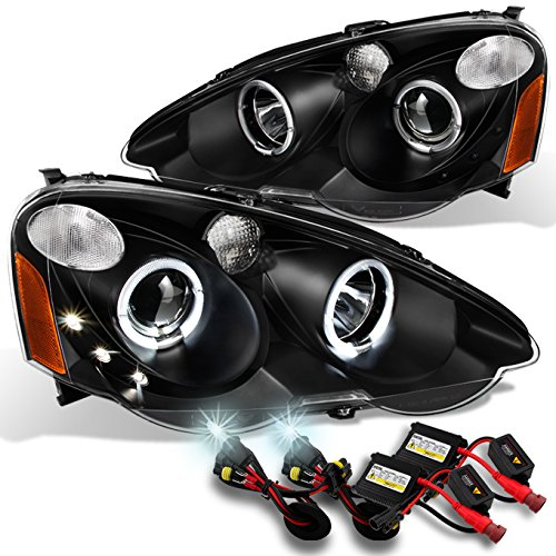 For 2002 2003 2004 Acura RSX Integra DC5 Black Halo Projector Headlights Lamps Assembly + 6000K HID ()