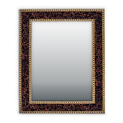 Mirror Mahogany Vanity (Mahogany Brown Crackled Glass Decorative Wall Mirror - 30X24 Mosaic Glass Wall Mirror, Vanity Mirror, Glamorous (Mahogany Brown))