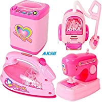 AKSH Battery Operated Pink Household Home Apppliances Kitchen Play Sets Toys for Girls (Iron)