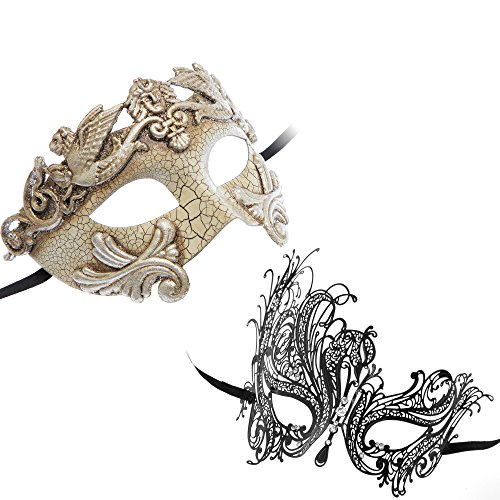 Roman Greek Emperor Masquerade Mask Silver Series Couple Mask Sets (Silver6)