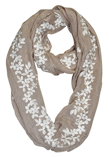 Peach Couture Sheer Soft Cloth Floral Embroidered Flower Infinity Loop Scarf Daisy Taupe
