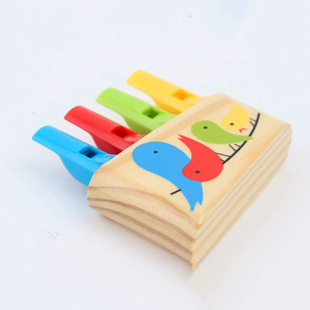 NUOBESTY Wooden whistle rainbow flute music instrument whistle sound toy for kids