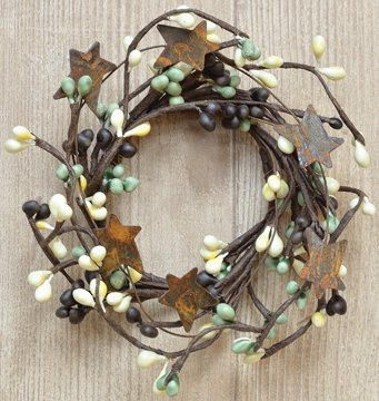 Coffee Bean Pip Candle Ring Mini Wreath Rusty Stars Chocolate Brown Beige Green Berries Country Primitive Décor (Berry Small Candle)