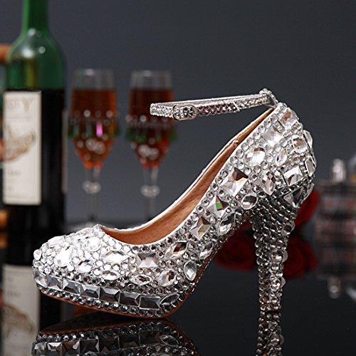 Miyoopark Ll115 Donna Cinturino Alla Caviglia Con Strass Da Sposa Damigella Donore Scarpe Da Sera Da Sposa Scarpe Argento-tacco 12cm