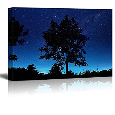 Canvas Print Wall Art - Tree and Village Under The Starry Night - Gallery Wrap Modern Home Art | Ready to Hang - 12
