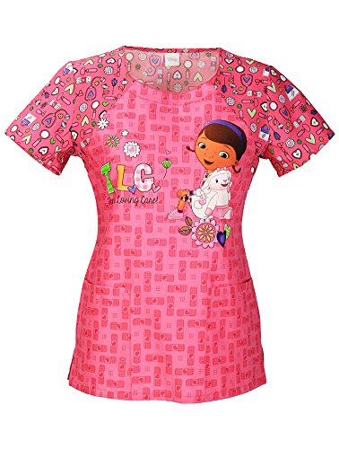 Tooniforms by Cherokee Women's Round Neck Doc Mcstuffins Print Scrub Top X-Large Print]()