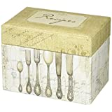CRG Recipe File Box with Cards, 4 by 6-Inch, Gold/Off-White