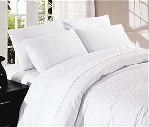 Dreamz cama Super suave 400hilos elegante acabado sábana bajera (Deep bolsillo: 18), UK Super King, Color blanco rayas