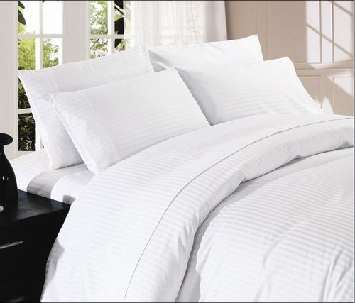 Royal Home Collection 200 Thread Count Bed Sheet Set 15 Inch Extra Deep Pocket Queen Bed Size, White Striped 100% Egyptian Cotton