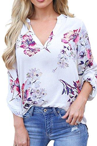 Floral Chiffon (Allimy Women Casual Cuffed 3/4 Long Sleeve V Neck Floral Print Chiffon Tops Blouses Tunics White Medium)