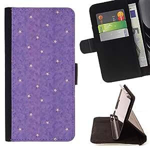 BullDog Case - FOR/Sony Xperia Z3 D6603 / - / purple yellow star abstract polka dot /- Monedero de cuero de la PU Llevar cubierta de la caja con el ID Credit Card Slots Flip funda de cuer