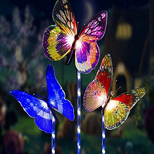 Garden Solar Lights Outdoor Decorative Lamp Stake,3 Pack Waterproof Solar Powered Butterfly Lights,Drunze LED Color Changing Landscape Lighting for Fence,Lawn,Yard Christmas Decorative (Christmas Light Yard Lawn Decoration)
