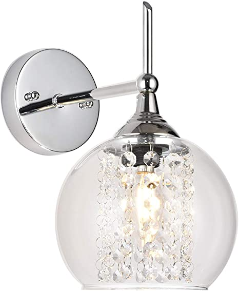 Amazon Com Cotulin Modern Decorative 1 Light Chrome Wall Sconce Lighting Crystal Wall Sconce Wall Lamp With Clear Glass For Bedroom Hallway Wall Lights For Living Room Dining Room Entryway Home Improvement