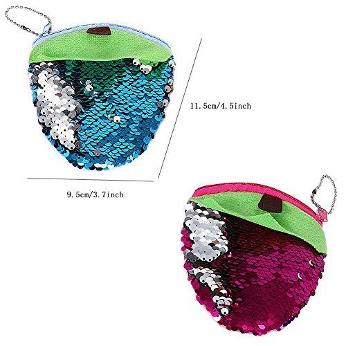 Mermaid Sequins Reversible Wallet Glittering Strawberry Cartoon Paillette Purse Coin Zipper Pouch Card Purse Multifunction Travel Pocket for Women Girls 3PCS (Silver)