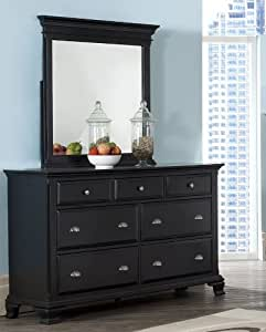 roundhill furniture laveno 011 black wood 7 drawer dresser and mirror kitchen dining. Black Bedroom Furniture Sets. Home Design Ideas