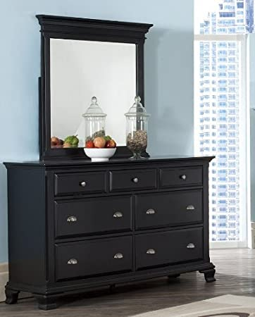 Roundhill Furniture Laveno 011 Black Wood 7 Drawer Dresser And Mirror