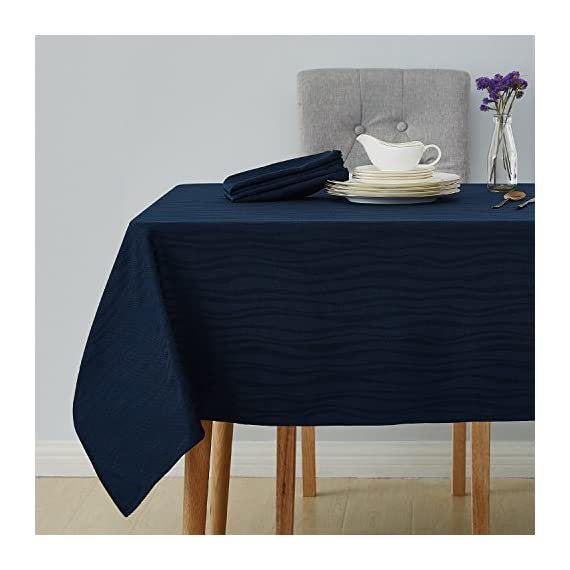 Deconovo Decorative Jacquard Tablecloth Wrinkle and Water Resistant Spill-Proof Rectangle Tablecloths Vibrant Waves for Kitchen 54 x 72 inch Navy Blue - PREMIUM MATERIALS: Crafted of 100 percent imported premium quality soft and smooth wrinkle resistant luxury jacquard fabric to enhance any dining setting. WATER RESISTANT & SPILL-PROOF: These tablecloths are made of liquids and spill resistant fabric. They are very easy to clean and helps protect your tables and furniture. DECORATIVE & MULTIPURPOSE: These beautifully crafted tablecloths are a perfect addition to any indoor and outdoor dining occasion either for decorative or functional purposes (Cafes, dinners, weddings, brunches, potlucks, buffets, picnics, baby showers and more). - tablecloths, kitchen-dining-room-table-linens, kitchen-dining-room - 51mVyFqzvqL. SS570  -