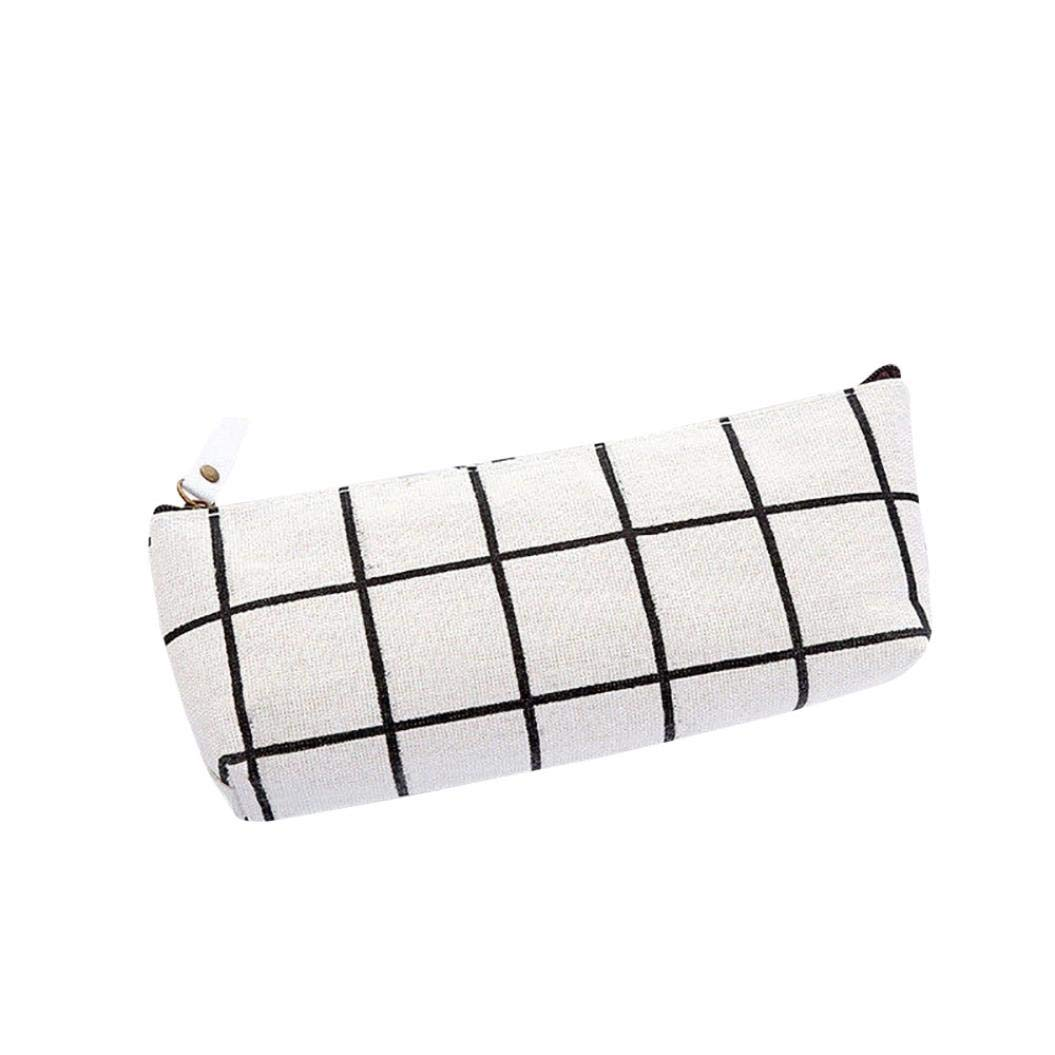 Lavany Pencil Case,Canvans Plaid Pencil Bag Large Capacity Cosmetic Bag Pencil Cases with Zipper for Girls Boys (White)