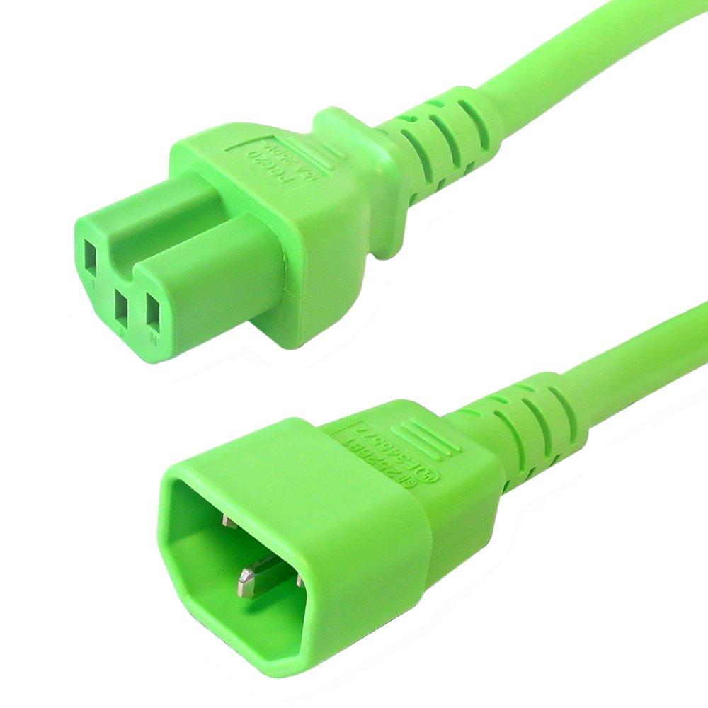 6 ft IEC c14 to IEC c15電源ケーブル – 14 AWG SJT ( 15 a 250 V ) – グリーン   B01HYF1RGY