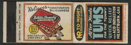Nature's Remedy Tablets Relieves Constipation Tums Heartburn Acid matchcover