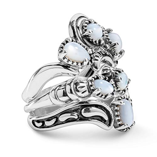 (925 Silver White Mother of Pearl Gemstone Stack Ring Set - Size 7)