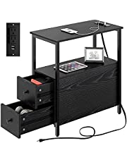 Rolanstar End Table with Charging Station, Narrow Side Table with 2 Wooden Drawers and USB Ports & Power Outlets, Nightstand Sofa Table for Small Spaces, Living Room, Bedroom