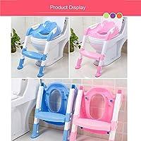 Destinely - Escalera reductora para inodoro de niño, reductor de WC para niños, silla de inodoro con cojín suave, asiento para inodoro con escalera ajustable, antideslizante, plegable, para inodoro de O V U: