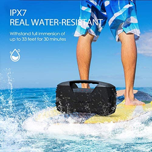 AOMAIS GO Bluetooth Speakers, 40H Playtime Outdoor Portable Speaker, 40W Stereo Sound Rich Bass, IPX7 Waterproof Bluetooth 5.0 Wireless Pairing,10000mAh Power Bank, for Party, Travel(2020 Upgrade) 51mVzoQdLDL
